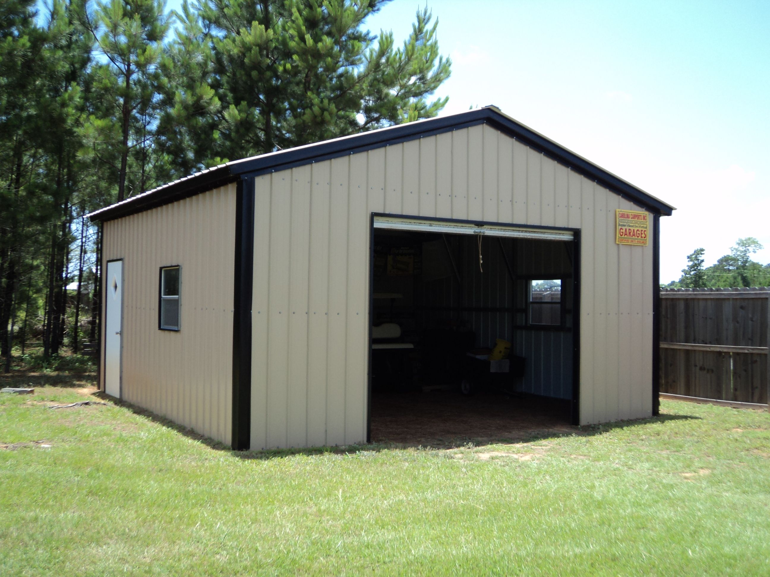 18 x 21 x 9 all vertical garage choice metal buildings for Carport shop