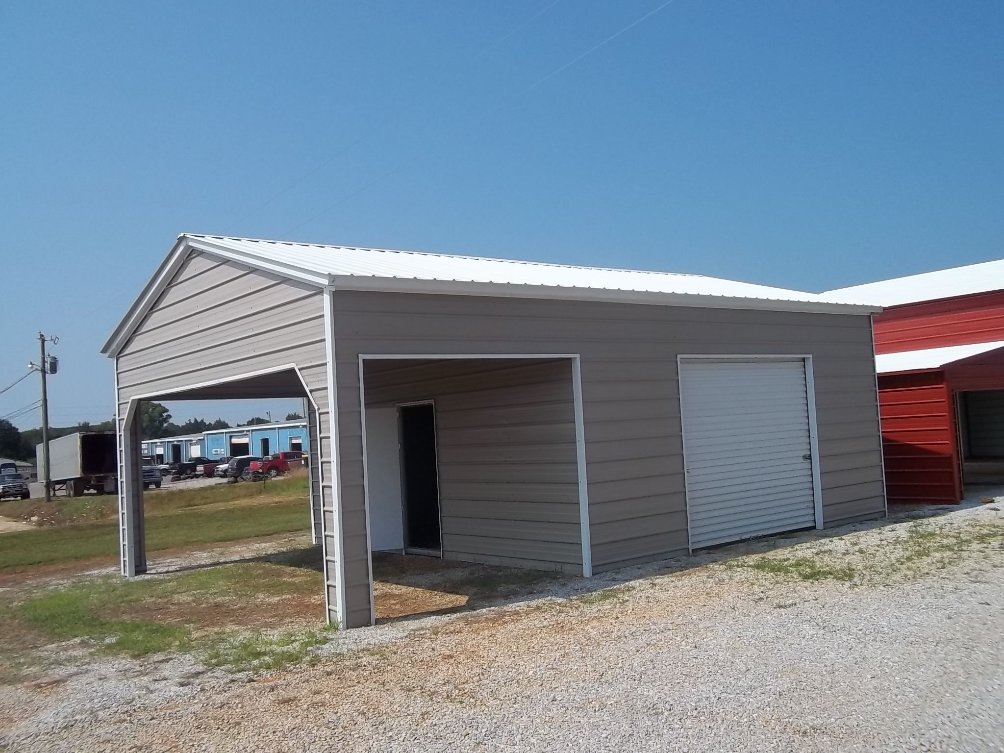 20 x 26 x 10 combo garage choice metal buildings for Garage packages maine